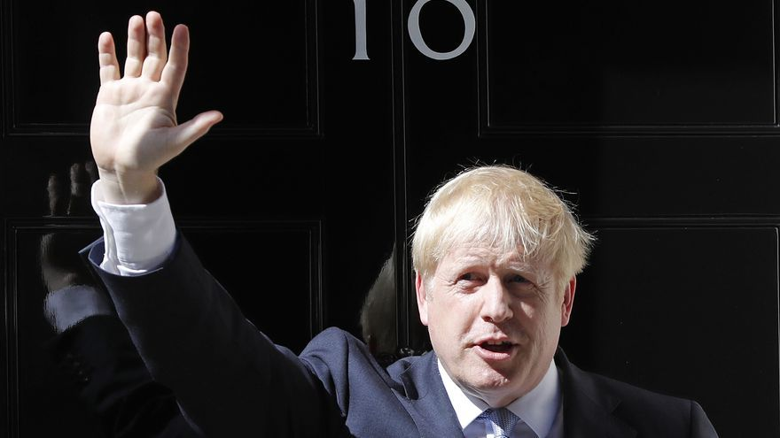New Prime Minister Boris Johnson is welcomed into 10 Downing Street and accepting her invitation to become Prime Minister and form a new government. 2019-07-24