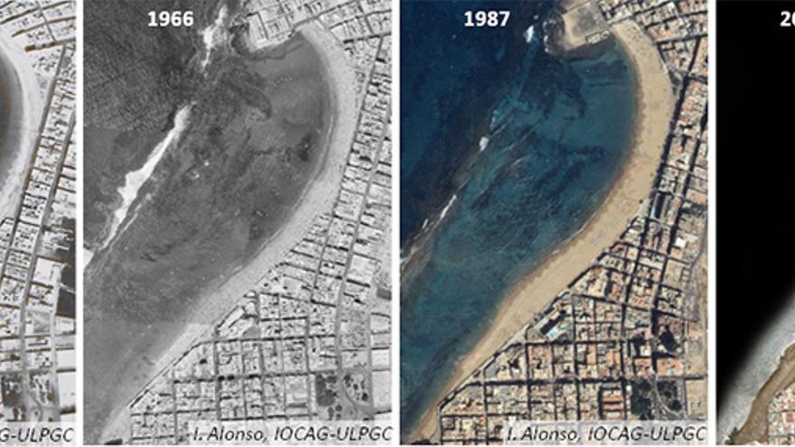 Evolución de la playa de Las Canteras. Imagen cedida por Ignacio Alonso (forma parte del estudio que la ULPGC va a entregar al Ayuntamiento).