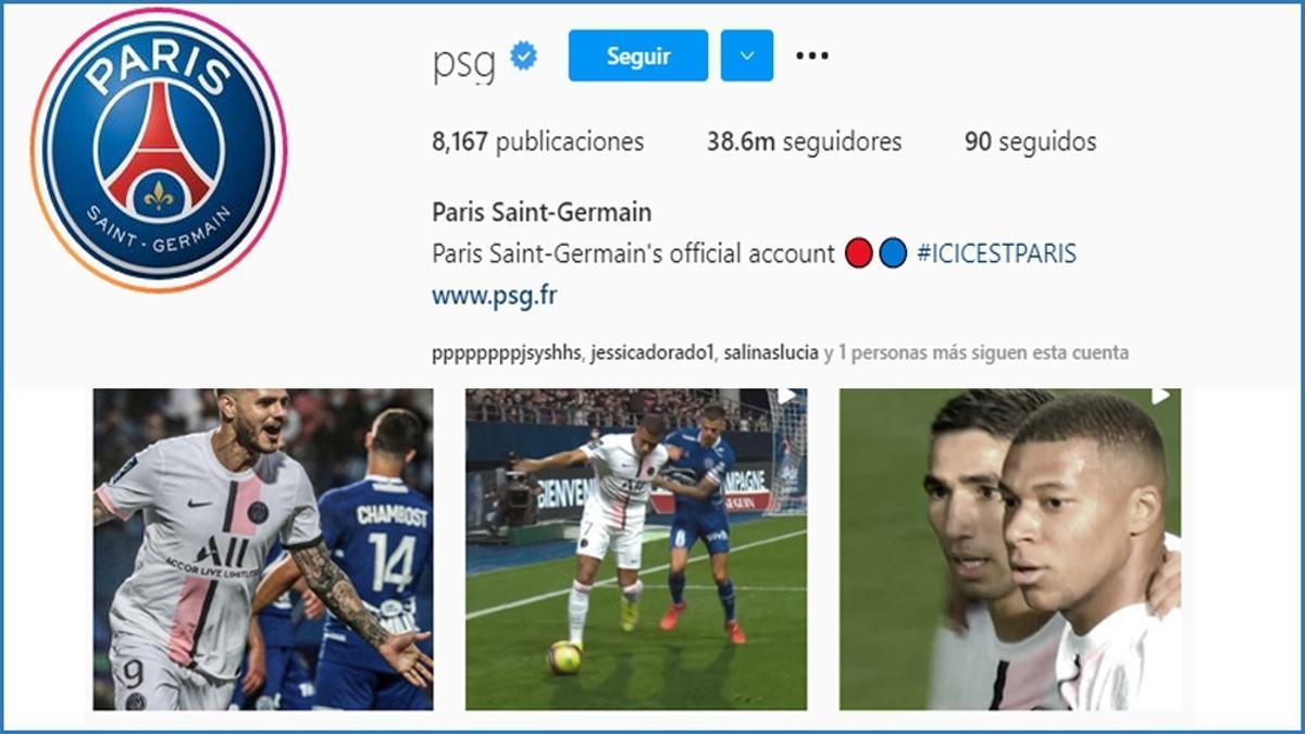 El Instagram del PSG suma más de 210 mil seguidores diarios.