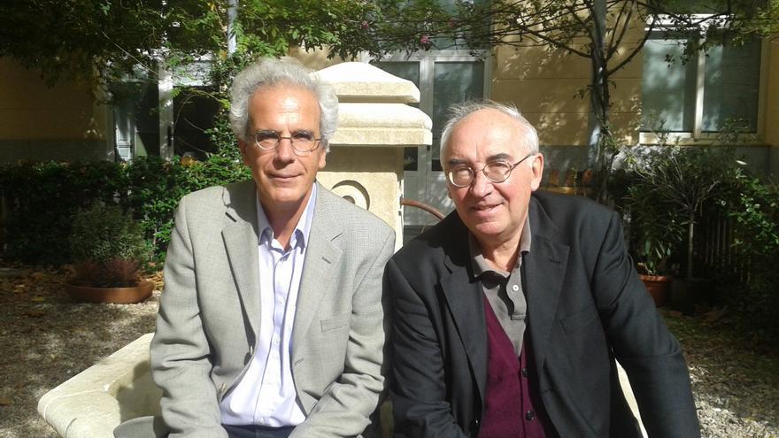 Pierre Dardot (izda) y Christian Laval (dcha) en su última visita a Barcelona en octubre de 2105