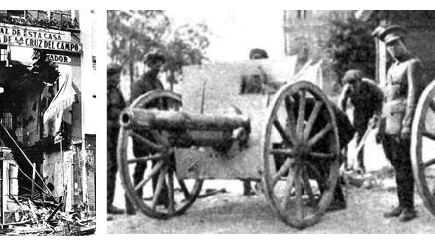 Edificio de Casa Cornelio, bombardeado, y la artillería preparada para cañonear el centro anarquista.