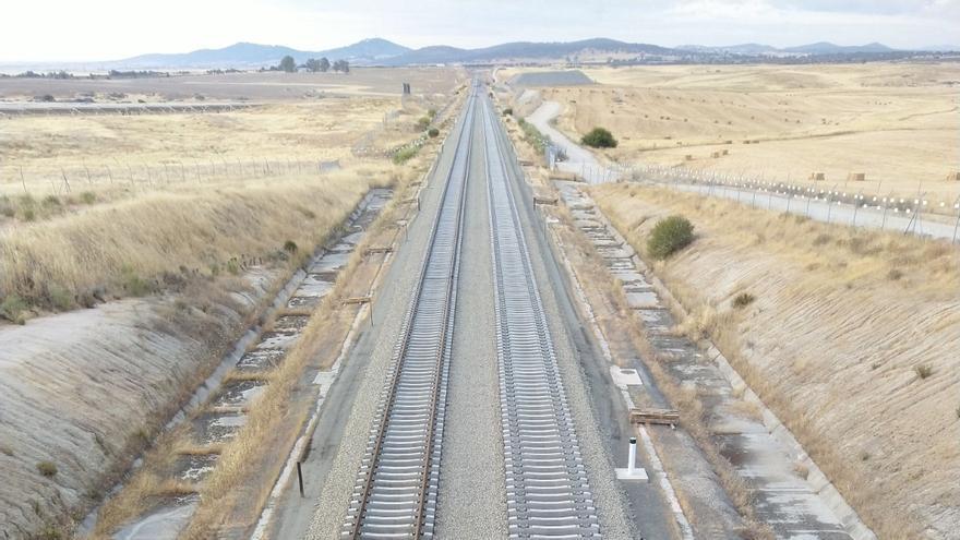 Montaje de doble vía en Extremadura