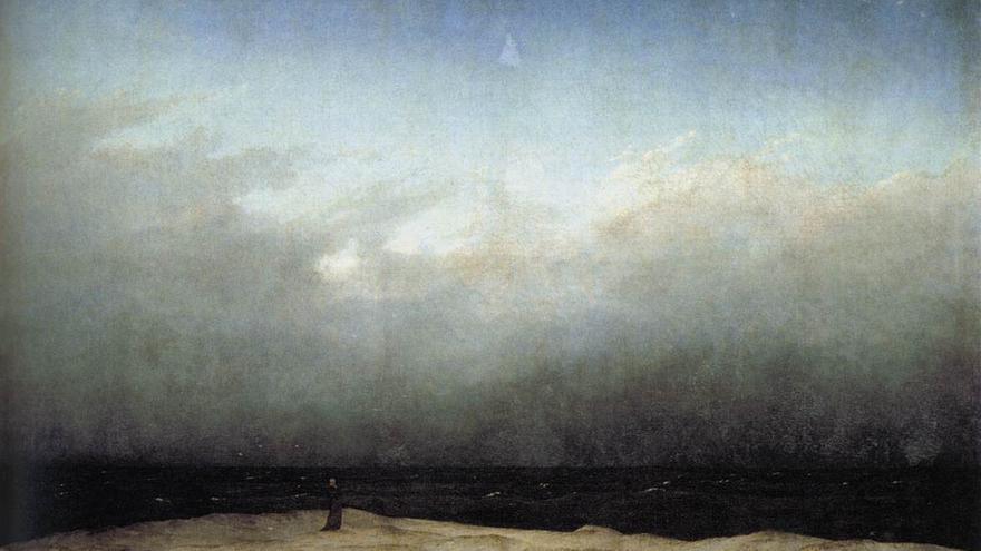 'Monje a la orilla del mar'. Caspar David Friedrich.