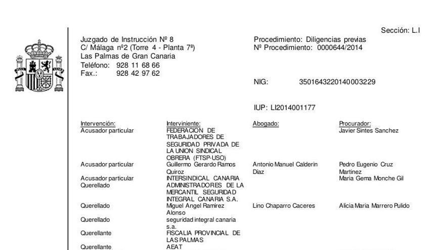 Documento fechado el 30 de julio de 2014, por el que la entonces juez del Juzgado de Instrucción número 8 de la capital grancanaria, Victoria Rosell, da traslado del pen drive.