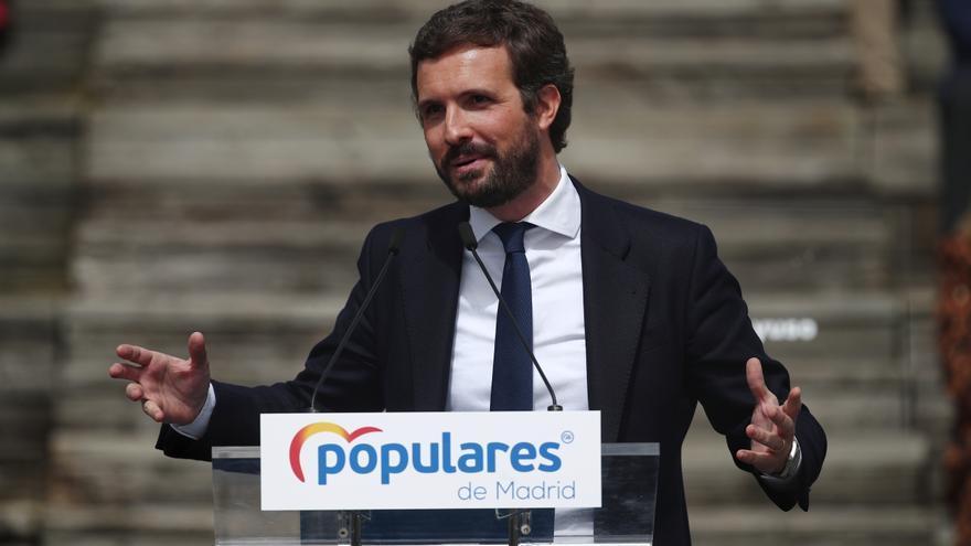 El líder del PP, Pablo Casado, interviene en la presentación de la candidatura del PP de Madrid para las elecciones a la Asamblea de Madrid en el Auditorio del Parque Lineal del Manzanares, en Madrid (España) a 31 de marzo de 2021. El plazo de presentació