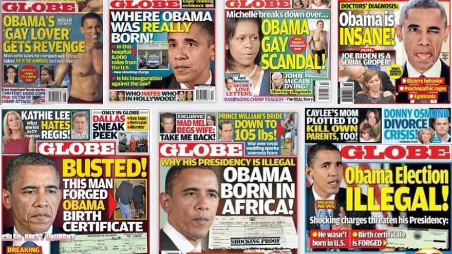 Algunas de las portadas del Globe sobre Obama.