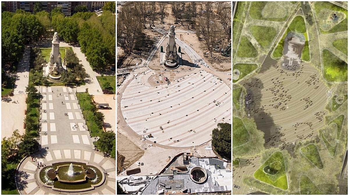 La Plaza de España antes de las obras (izquierda), en la actualidad (centro) y proyecto no definitivo (derecha)