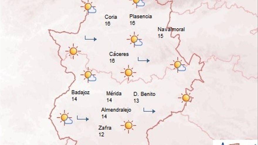 Predicción de la Agencia Estatal de Meteorología en Extremadura para este sábado