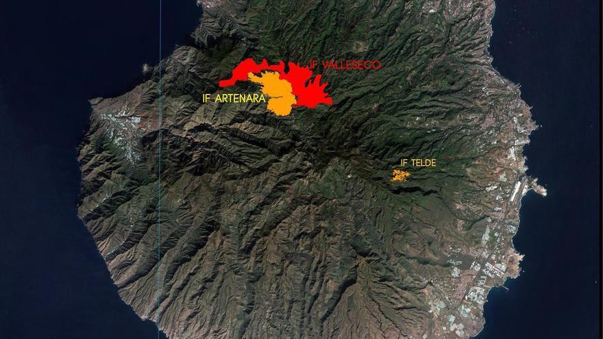 Perímetro del incendio iniciado en Valleseco, junto al declarado en Artenara y en Telde