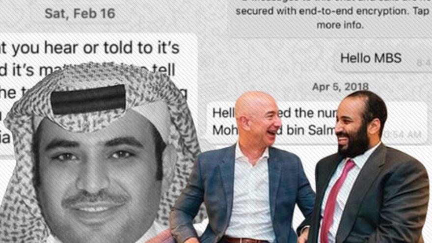 Montaje que muestra a Mohammed bin Salman y Jeff Bezos