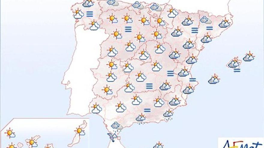 Tiempo más estable con alguna nubosidad en el noroeste y Canarias