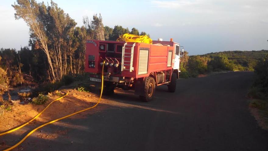 Se movilizó a una brigada forestal, un vehículo autobomba y un vehículo disuasorio de la Consejería de Medio Ambiente del Cabildo.