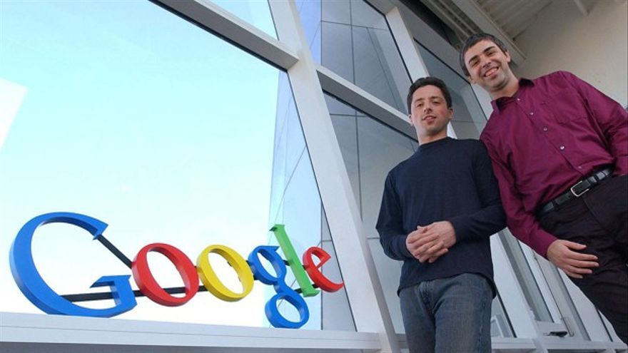** FOR RELEASE WEEKEND SEPT. 6-7 ** In this Jan. 15, 2004 file photo, Google co-founders Sergey Brin, left, and Larry Page pose at company headquarters in Mountain View, Calif. When Page and Brin founded Google Inc. on Sept. 7, 1998, they had little more than their ingenuity, four computers and an investor's $100,000 bet on their belief that an Internet search engine could change the world. (AP Photo/Ben Margot, file)/Google_at_10_NYBZ165/FOR RELEASE WEEKEND SEPT. 6-7. JAN. 15, 2004 FILE PHOTO/0809032309