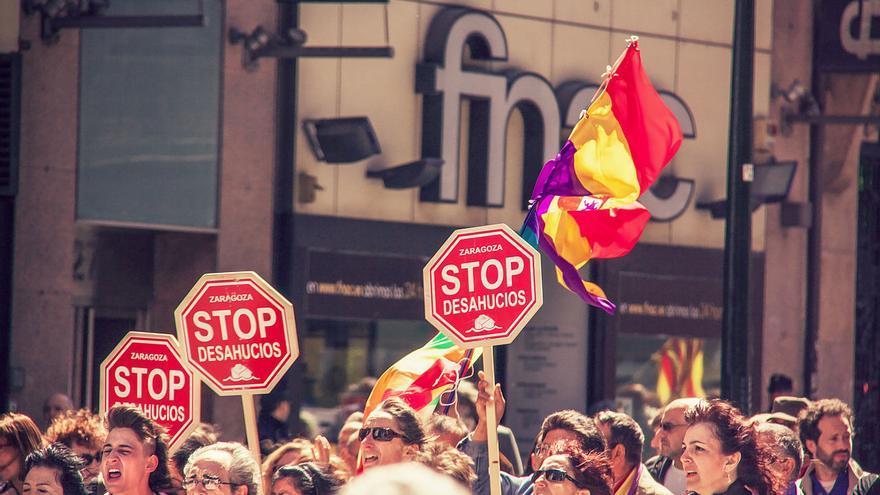 Manifestación contra los desahucios en Zaragoza.
