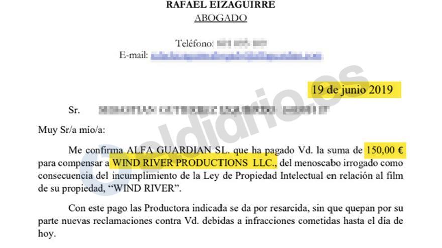 Comunicación del abogado Rafael Eizaguirre con un afectado por las cartas en la que le informa de que ha recibido correctamente el pago para una empresa disuelta meses antes.