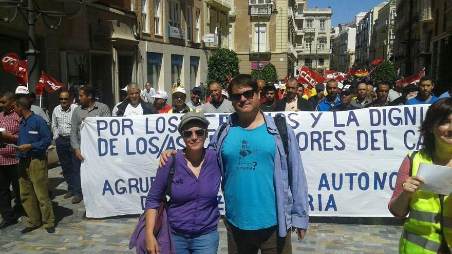 El diputado regional de Podemos Andrés Pedreño en la manifestación del 1 de mayo
