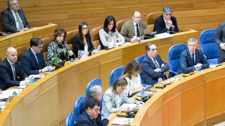 Feijóo, durante la sesión de control en el Parlamento de Galicia