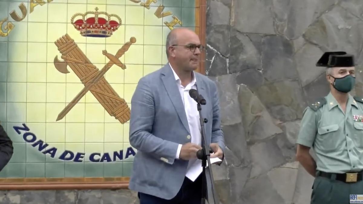 Anselmo Pestana, Delegado del Gobierno en Canarias, durante la rueda de prensa