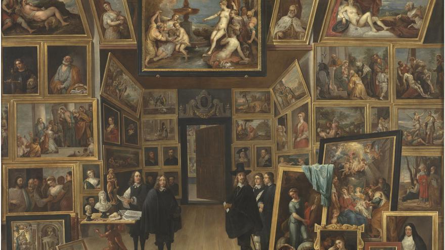 C:\fakepath\9.. El archiduque Leopoldo Guillermo en su galería de pinturas en Bruselas. David Teniers. Óleo sobre lámina de cobre, 104,8 x 130,4 cm. 1647-51.jpg
