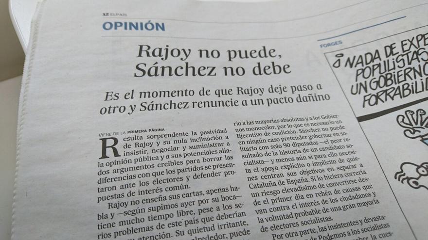 Editorial de El País contra Rajoy y Sánchez