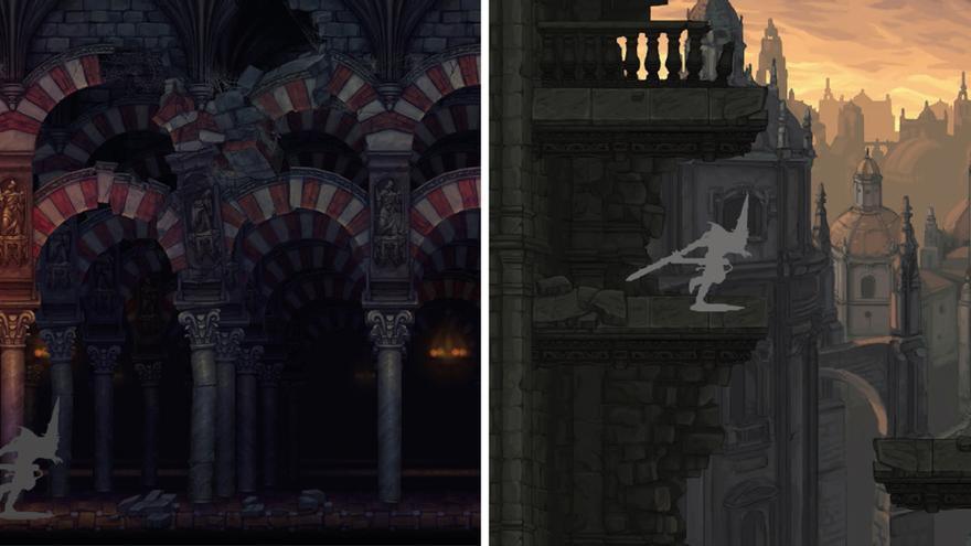 A la izquierda: escenario basado en la Mezquita de Córdoba. A la derecha: otro escenario en las vistas desde la  Giralda