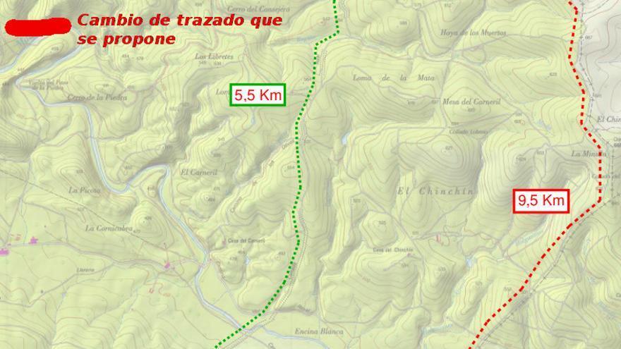 Mapa del desvío propuesto Cañada Leonesa Oriental