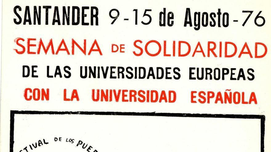 Pegatina del Festival de los Pueblos de Europa que se iba a celebrar en Santander. | DESMEMORIADOS