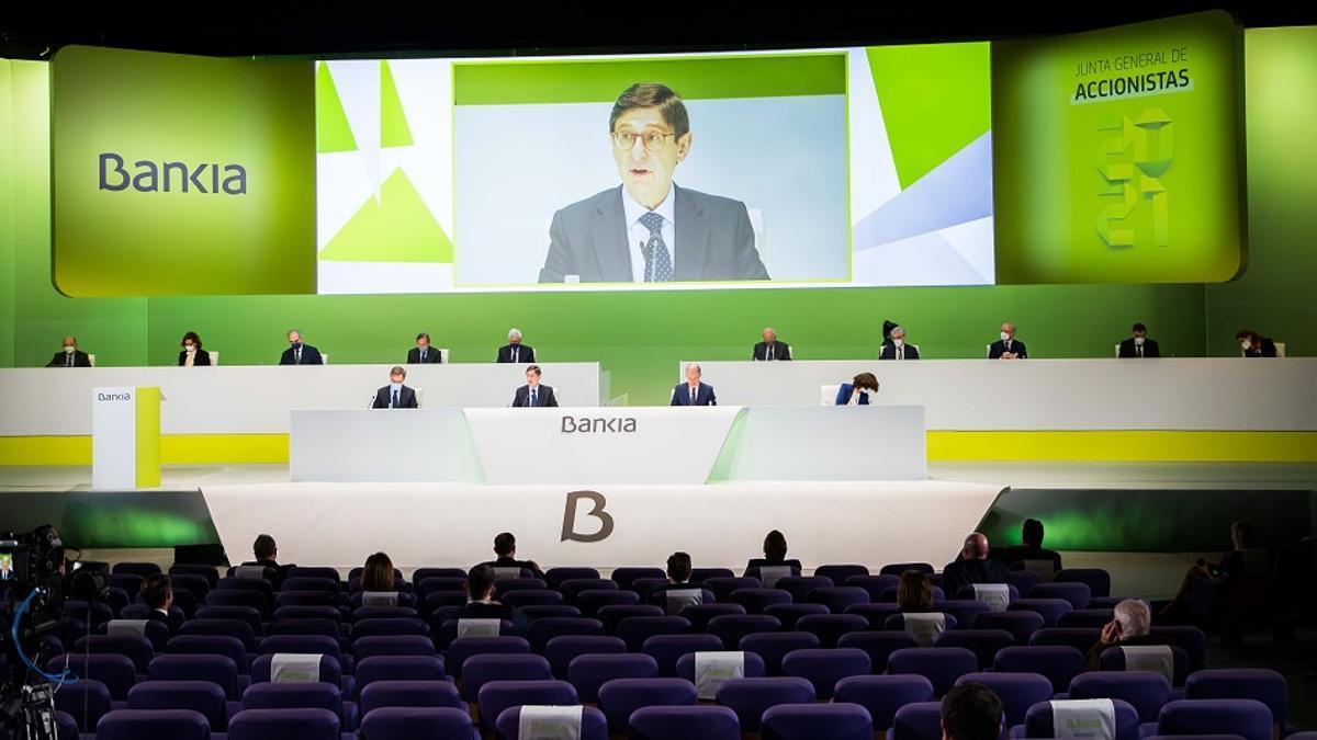 Un momento de la junta de acciones de Bankia.