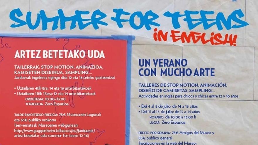 El Museo Guggenheim Bilbao pone en marcha este verano los talleres 'Summer for Teens'