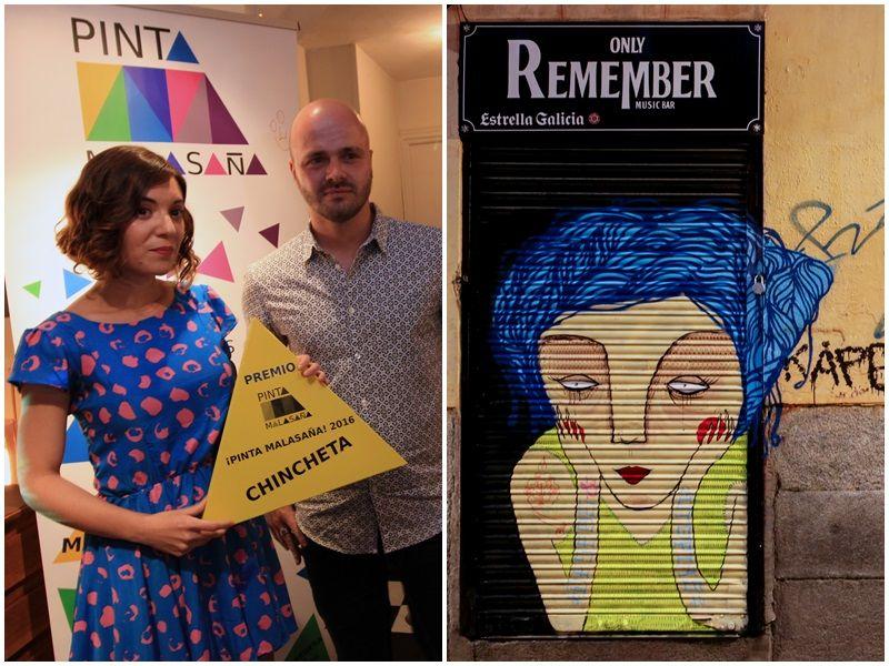 Chincheta (izquierda) recibe el primer premio por su obra de ¡Pinta Malasaña! (derecha) | RAQUEL ANGULO