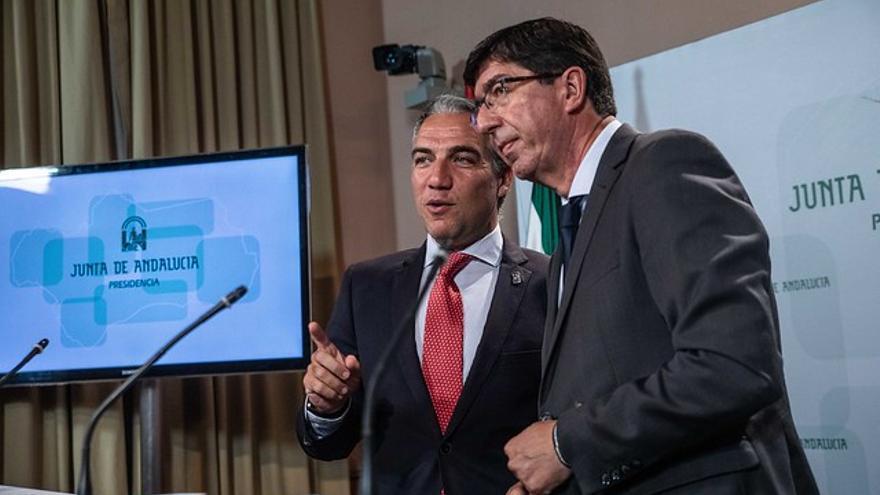 Elías Bendodo, consejero de Presidencia (PP), junto al vicepresidente de la Junta, Juan Marín (Ciudadanos).