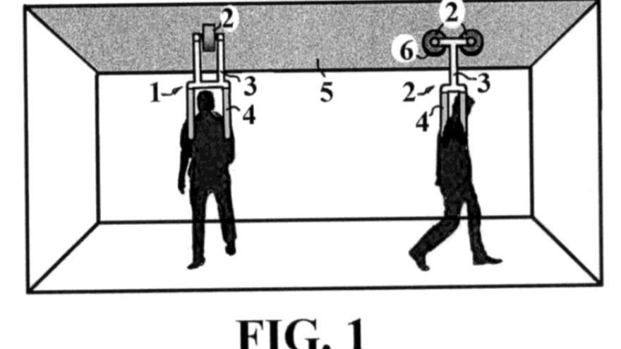 Imagen de la patente del sistema de levitación para deporte y rehabilitación terapéutica de Manuel Muñoz