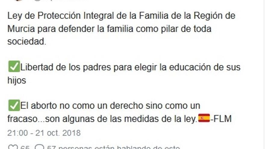 """López Miras: """"el aborto no es un derecho, sino un fracaso"""""""