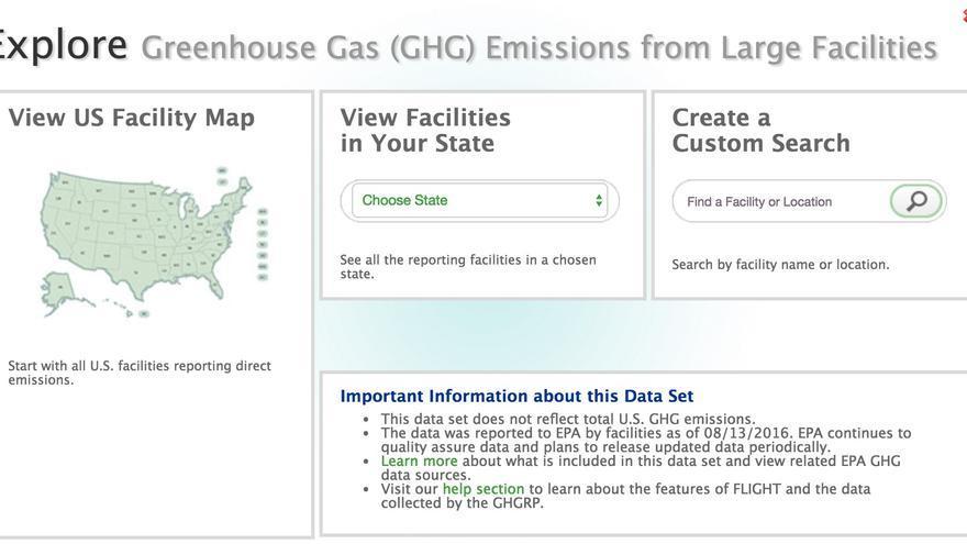 Un mapa interactivo de las emisiones de CO2 a la atmósfera de la Agencia de Protección al Medioambiente