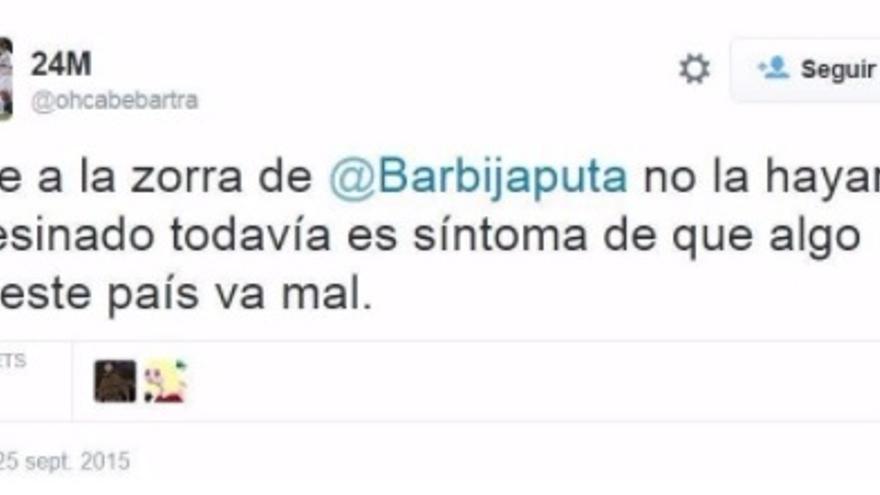 Tuit amenazante a Barbijaputa