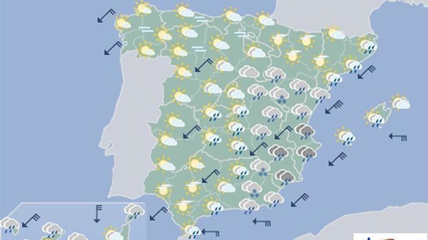 Hoy, lluvias persistentes y localmente fuertes en la mayor parte de España