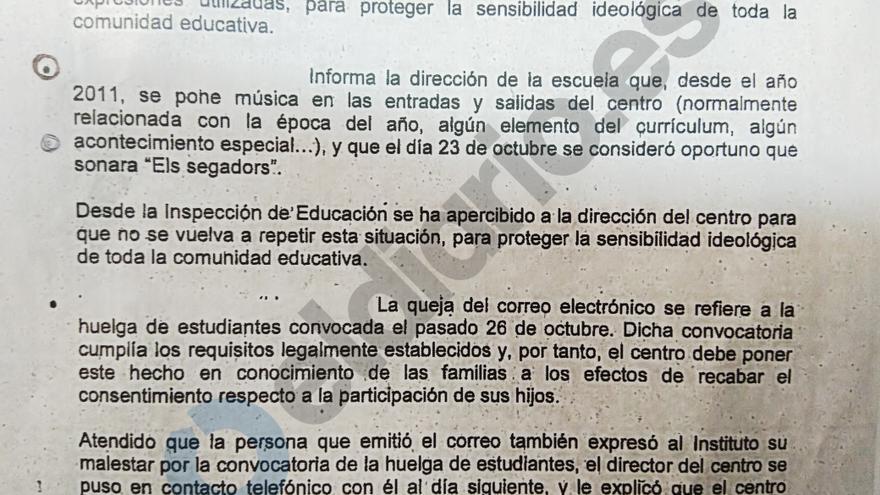 La Inspección Educativa apercibe a un colegio que puso 'Els segadors' el 23 de octubre