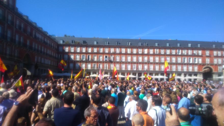 Concentración en favor de Millán Astray en la plaza Mayor de Madrid, 24 de septiembre de 2016.