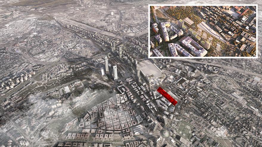Detalle de las torres previstas en la calle Manuel Ferrero tras la ejecución de la Operación Chamartín
