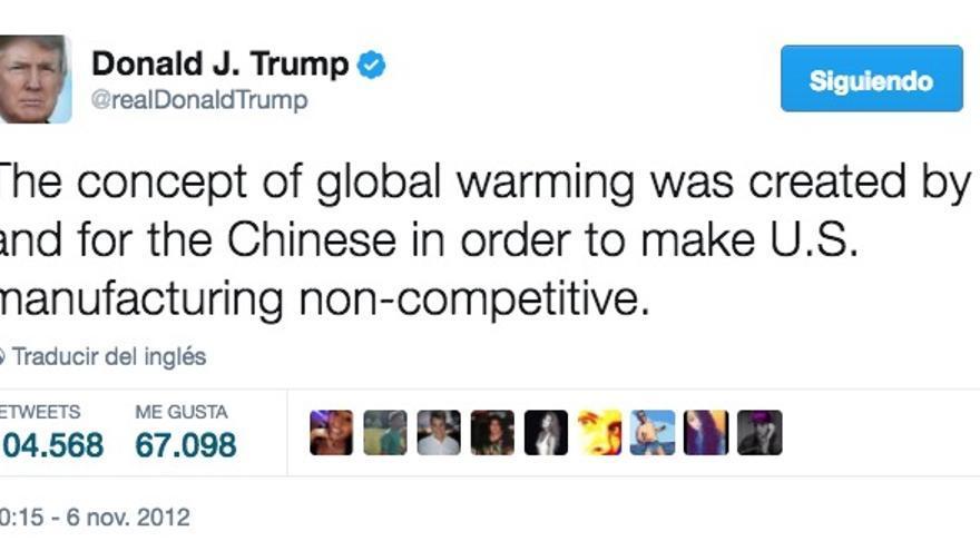 Donald Trump y su conspiración favorita sobre el cambio climático.