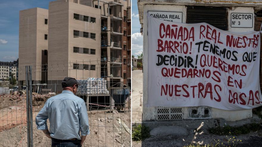 A la izquierda, un hombre observa las obras de El Cañaveral; a la derecha, un cartel reivindicativo en La Cañada Real