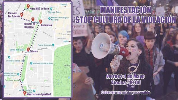 """Cartel manifestación """"Stop cultura de la violación"""" 4 mayo"""