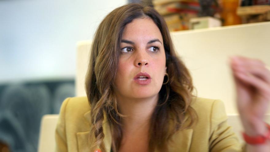 Sandra Gómez, candidata a la alcaldía de València por el PSPV, durante la entrevista