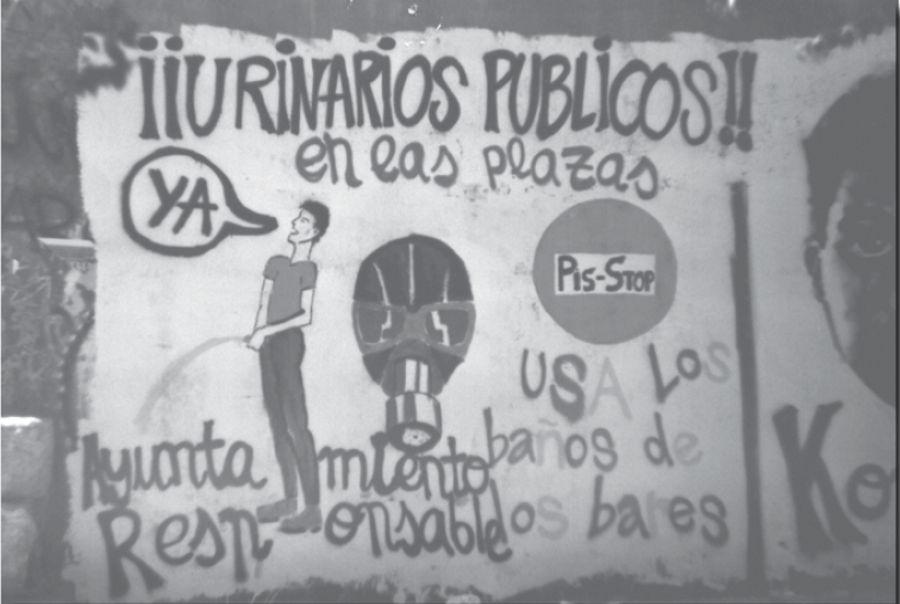 Mural hecho en la época en la campaña Pis-Stop por el Kolectivo Malasaña