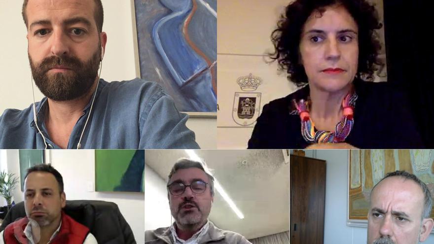 Participantes en una reunión por videoconferencia entre el viceconsejero regional  de Cultura y representantes del área de los cabildos.