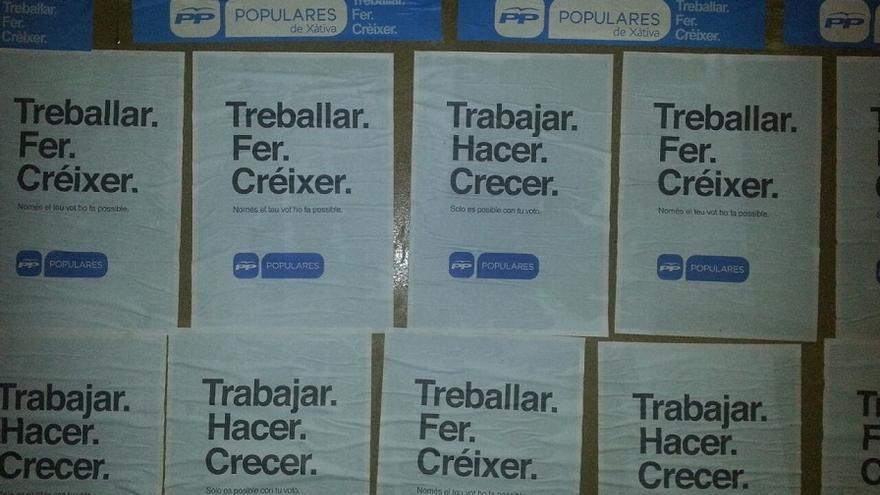 En los carteles del PP en Xàtiva no aparece Rus, pero tampoco Alberto Fabra