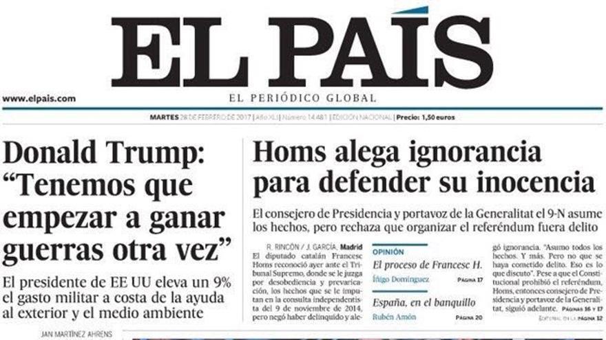 Portada de El País del 28 de febrero.
