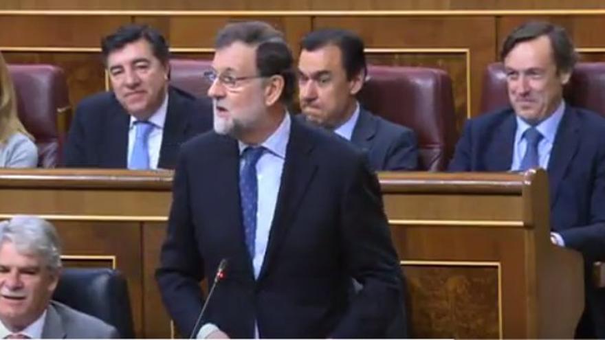 Intervención de Rajoy en el Congreso respondiendo sobre corrupción. Captura de pantalla.