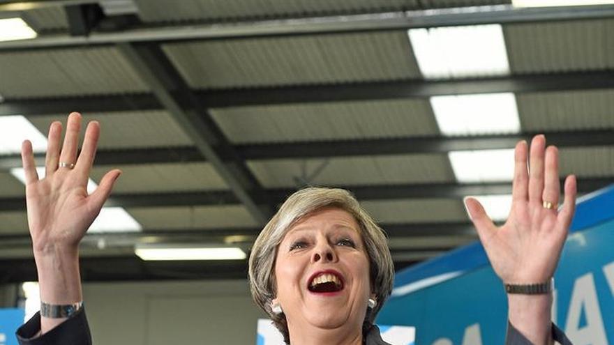 Theresa May, durante un acto de campaña