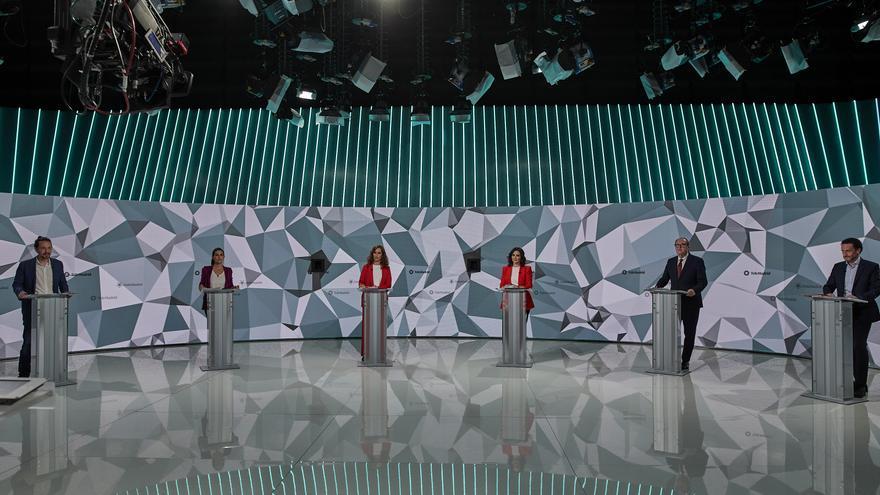 (I-D) El candidato de Unidas Podemos a la Presidencia de la Comunidad de Madrid, Pablo Iglesias; la de Vox , Rocío Monasterio; la de Más Madrid, Mónica García; la del PP, Isabel Díaz Ayuso; el del PSOE, Ángel Gabilondo; y el de Cs, Edmundo Bal.